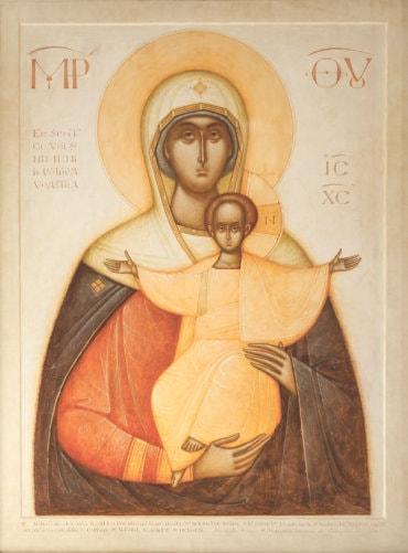 """Rugăciune înaintea icoanei Maicii Domnului """"Eu sunt cu voi și nimeni împotriva voastră"""" de la Centrul Episcopal din Stockholm (a Episcopului Macarie Drăgoi)"""