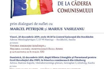 Episcopia Ortodoxă Română a Europei de Nord comemorează 30 de ani de la căderea comunismului, prin dialoguri de suflet cu Marcel Petrișor și Marius Vasileanu