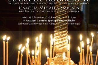 Seară de rugăciune în semn de solidarizare cu greu încercata mamă româncă Camelia-Mihaela Smicală din Finlanda – miercuri, 5 februarie 2020, începând cu ora 18.30, în Paraclisul Centrului Episcopal din Stockholm