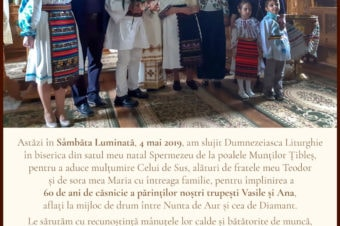 Today, on Bright Saturday, May 4, 2019, I served Divine Liturgy in the church of my native village Spermezeu at the foot of the Ţibleş Mountains to give thanks to the Lord…