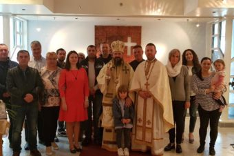 "His Grace Bishop Macarie visiting the Romanians beyond the Polar Circle in Norway. ""I find you in Christ again, face to face, giving glory to the Savior for another opportunity to bring Him thanks together!"""