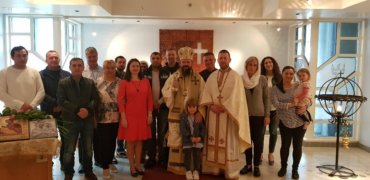 """His Grace Bishop Macarie visiting the Romanians beyond the Polar Circle in Norway. """"I find you in Christ again, face to face, giving glory to the Savior for another opportunity to bring Him thanks together!"""""""