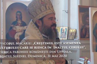 """Episcopul Macarie: """"Creștinul este asemenea vulturului care se ridică în  înaltul cerului"""", Biserica parohiei românești din Uppsala, Regatul Suediei, Duminică, 31 mai 2020"""