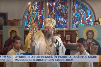 """Liturghie arhierească în Parohia """"Sfântul Mare Mucenic Gheorghe"""" din Stockholm (preluare TRINITAS.TV)"""