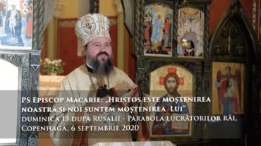 """PS Episcop Macarie: """"Hristos este moștenirea noastră si noi suntem moștenirea  Lui"""", duminica 13 după Rusalii – Parabola lucrătorilor răi, Copenhaga, 6 septembrie 2020"""