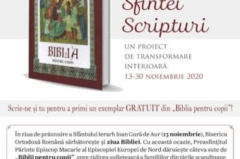 Citirea Sfintei Scripturi – un proiect de transformare interioară 13-30 noiembrie 2020. Scrie-ne și tu pentru a primi un exemplar GRATUIT din Biblia pentru copii!