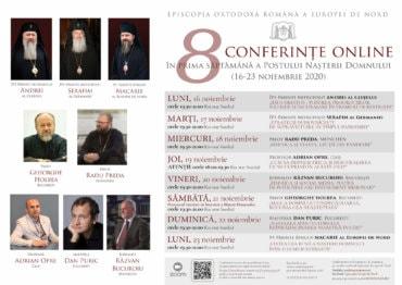 8 CONFERINȚE ONLINE ÎN PRIMA SĂPTĂMÂNĂ A POSTULUI NAȘTERII DOMNULUI (16-23 noiembrie 2020)