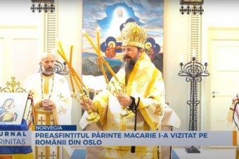 Preasfințitul Părinte Macarie i-a vizitat pe românii din Oslo (preluare TRINITAS.TV)