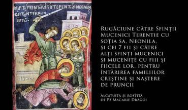 SFINȚII ZILEI: Rugăciune către Sfinții Mucenici Terentie cu soția sa, Neonila, și cei 7 fii și către alți sfinți mucenici și mucenițe cu fiii și fiicele lor, pentru întărirea familiilor creștine și naștere de prunci (a Episcopului Macarie Drăgoi)