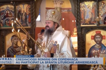 Credincioșii români din Copenhaga au participat la Sfânta Liturghie Arhierească (preluare TRINITAS.TV)